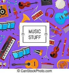 Vector cartoon musical instruments illustration