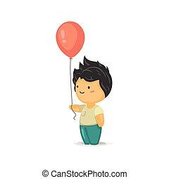 Chibi Boy Holding a Balloon