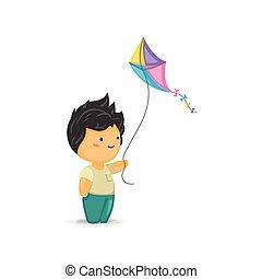Cute Chibi Boy Holding a Kite