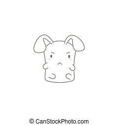 Cute Kawaii Bunny with a Angry Face