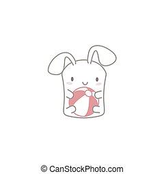 Cute Kawaii Bunny with a Ball