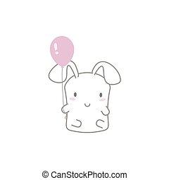 Cute Kawaii Bunny with a Balloon