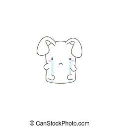 Cute Kawaii Bunny with a Crying Fac