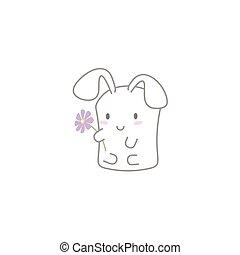 Cute Kawaii Bunny with a Flower
