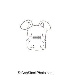 Cute Kawaii Bunny with a Funny Face
