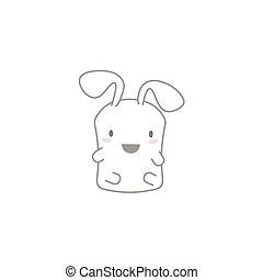 Cute Kawaii Bunny with a Happy Face