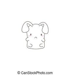 Cute Kawaii Bunny with a Sad Face