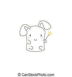 Cute Kawaii Bunny with a Wand