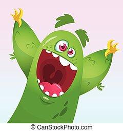 Vector cartoon of a green monster