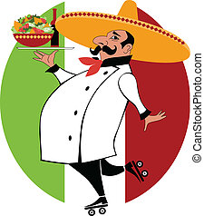 Mexican chef - Vector cartoon of a Mexican chef in chef...