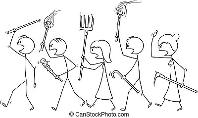 Vector cartoon stick figure drawing conceptual illustration of angry mob characters walking with torch and tools like pitchfork as weapons. Empty speech bubble ready for your text.