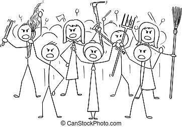 Vector cartoon stick figure drawing conceptual illustration of angry mob characters with torch and tools like pitchfork as weapons.