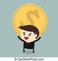 Vector cartoon of Businessman carry huge coin money, flat design, vector EPS10