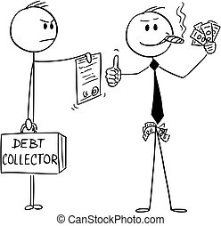 Vector Cartoon of Confident Successful Businessman Smoking Cigar and Showing Cash Money while Debt Collector is Requesting to Pay Bills or Foreclosing Property