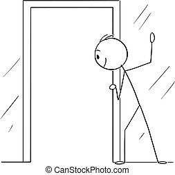 Vector Cartoon of Curious Man or Voyeur Looking Through Open...