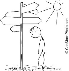 Vector Cartoon of Exhausted and Thirsty Man Walking on Desert and Found Empty Signpost