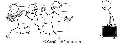 Vector Cartoon of Group of Men or Businessmen Running Away from Auditor, Inspector or Examiner