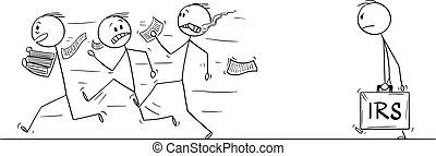 Vector Cartoon of Group of Men or businessmen Running Away in Fear From IRS or Taxation Authority Officer