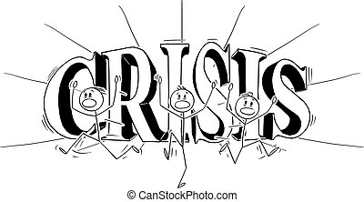 Vector Cartoon of Group of Men or Businessmen Running Away in Panic and Big Word Crisis in Background