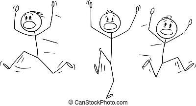 Vector Cartoon of Group of Men or Businessmen Running Away in Panic