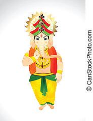 Vector Cartoon of Lord Ganesh