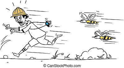 Vector Cartoon of Male Tourist Running Away from Large Bee or Wasp