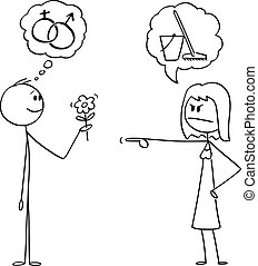 Vector Cartoon of Man Holding Flowers And Hoping in Romance or Sexual Intercourse. Woman is Sending Him to Wipe the Floor