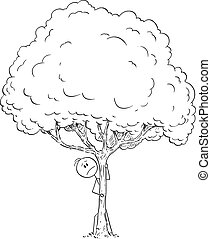 Vector Cartoon of Man of Fearful or Worried or Curious Man Hiding Behind Tree