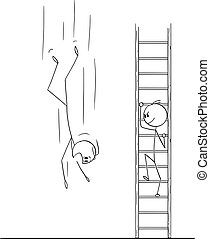 Vector Cartoon of Man or Businessman Climbing Up the Ladder while Business Competitor is Falling Down