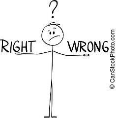 Vector Cartoon of Man or Businessman Deciding and Balancing Between Right and Wrong.