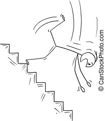 Vector cartoon stick figure drawing conceptual illustration of man or businessman falling down on dangerous stairs. Business concept of crisis and bankruptcy.