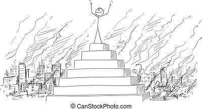 Vector Cartoon of Man or Businessman or Politician Celebrating His Triumph on the Peak of the Pyramid With Destroyed City Behind