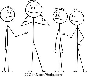 Vector cartoon stick figure drawing conceptual illustration of man or businessman pointing on yourself as the best part of the team. Business concept of arrogance, individuality and egoism.