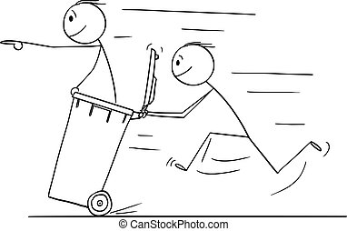 Vector Cartoon of Man or Businessman Pushing Another Man in Wheelie Bin