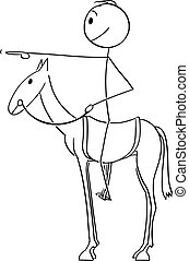 Vector Cartoon of Man or Businessman Sitting or Riding on Horse and Pointing Forward with Finger