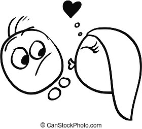 Vector Cartoon of Man Resisting the Kiss from Woman in Love