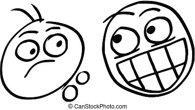 Vector Cartoon of Man Unpleasantly Surprised by Other Man with Crazy Smile