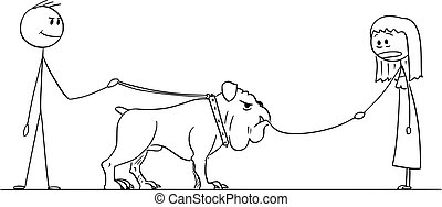Vector Cartoon of Man with Big Dog Who Eat Small Dog on ...