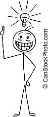 Vector Cartoon of Man with Light Bulb Above his Head who got Great Idea