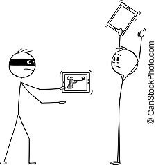 Vector cartoon stick figure drawing conceptual illustration of masked criminal, or robber with virtual gun as image on mobile phone, or tablet mugging a man with hands up.