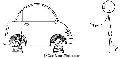 Vector Cartoon of Shocked Man Who Found His Car Without...