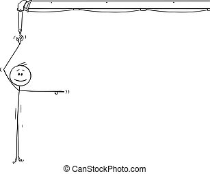 Vector Cartoon of Smiling Man or Businessman Holding the Crane Hook, Hanging and Pointing at Something