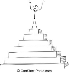 Vector Cartoon of Successful Man or Businessman Celebrating on the Peak of the Pyramid. Concept of Success.