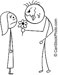 Vector Cartoon of Surprised Young Woman on Date with Ugly Man with Flower
