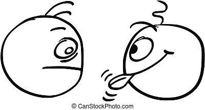 Vector Cartoon of Two Men, One of Them is Sticking Out his...