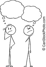 Vector Cartoon of Two Men or Businessmen Thinking About Problem With Empty Speech Bubbles