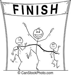Vector Cartoon of Victorious Man Who Is First on the Finish Line Beating His Business Competitors