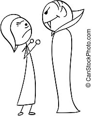 Vector Cartoon of Woman Frightened Scared by Vampire