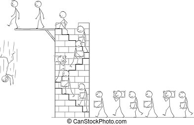 Vector Cartoon of Workers Carrying Stone Blocks as Building Material and Climbing on Tower, Career Metaphor