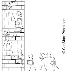 Vector Cartoon of Workers Carrying Stone Blocks as Building Material and Climbing on Tower